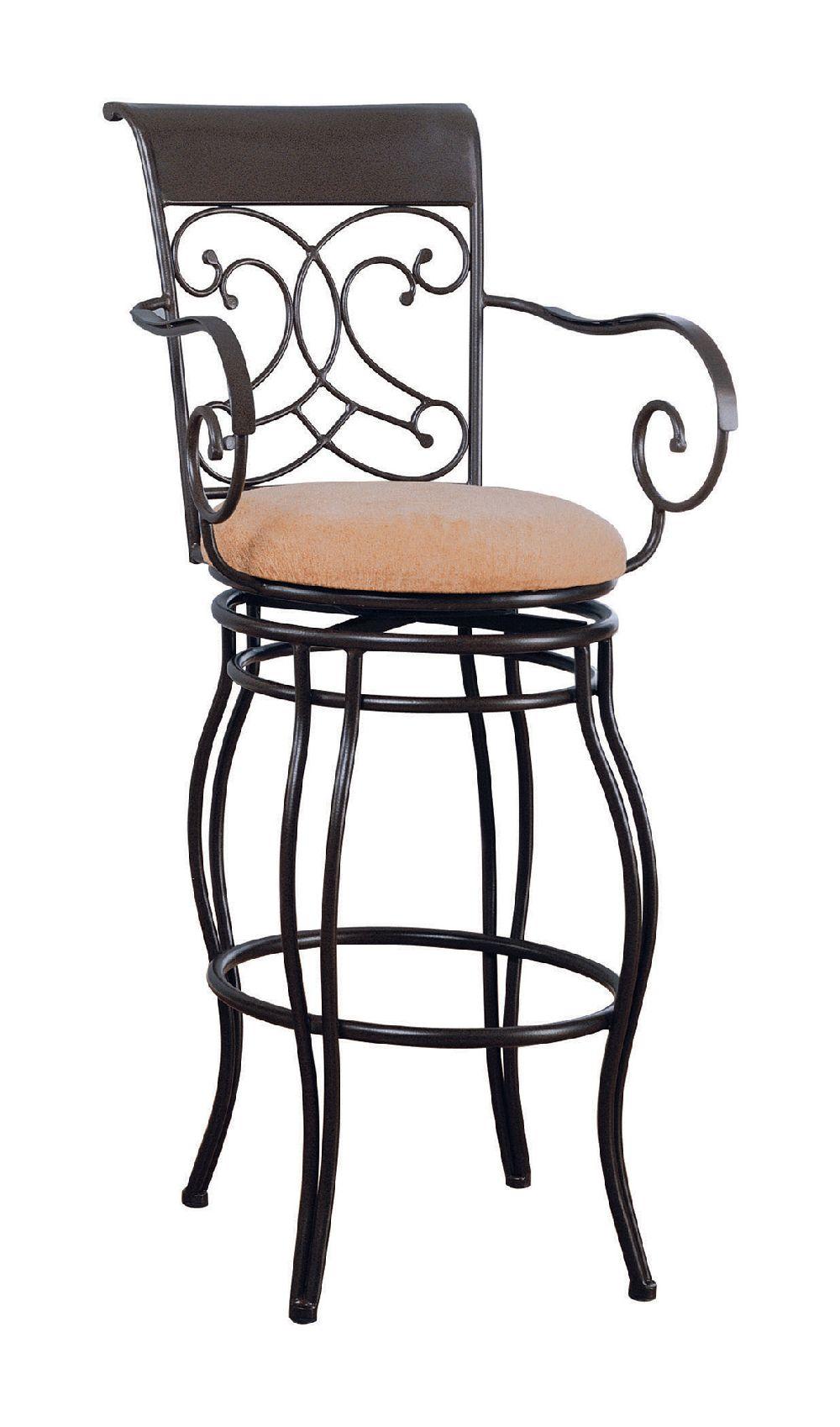 Coaster 120019 Swivel Metal And Beige Fabric Bar Stool