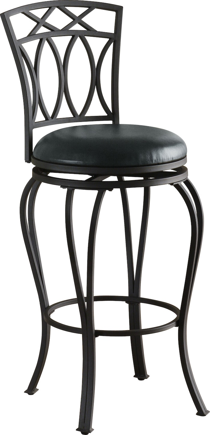 Coaster 122060 Swivel Metal And Black Leatherette Bar Stool