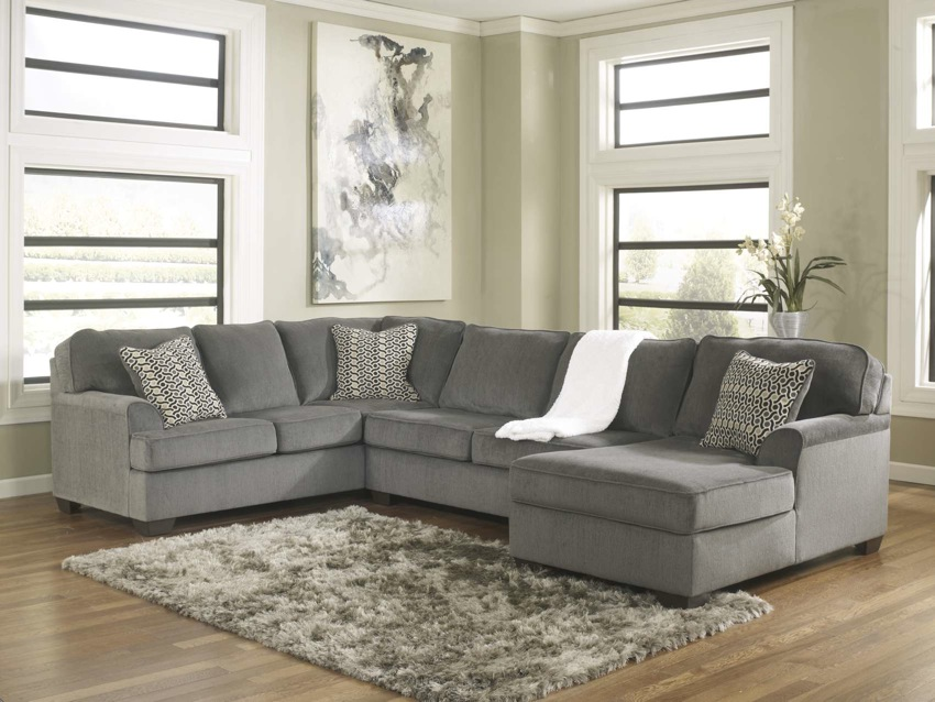 Loric 12700 smoke grey sectional sofa living spaces ashley for Sofa modular gris