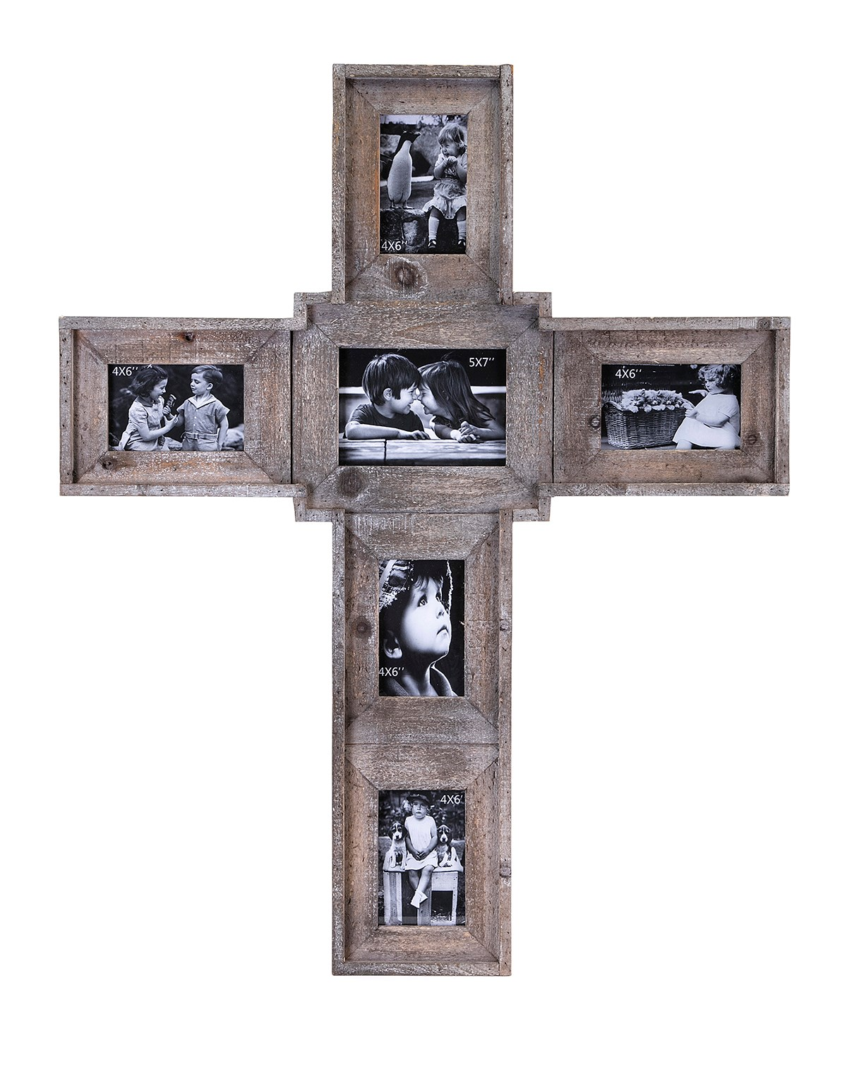 Wood 6 photo cross wall frame, wooden cross family photo frame for wall