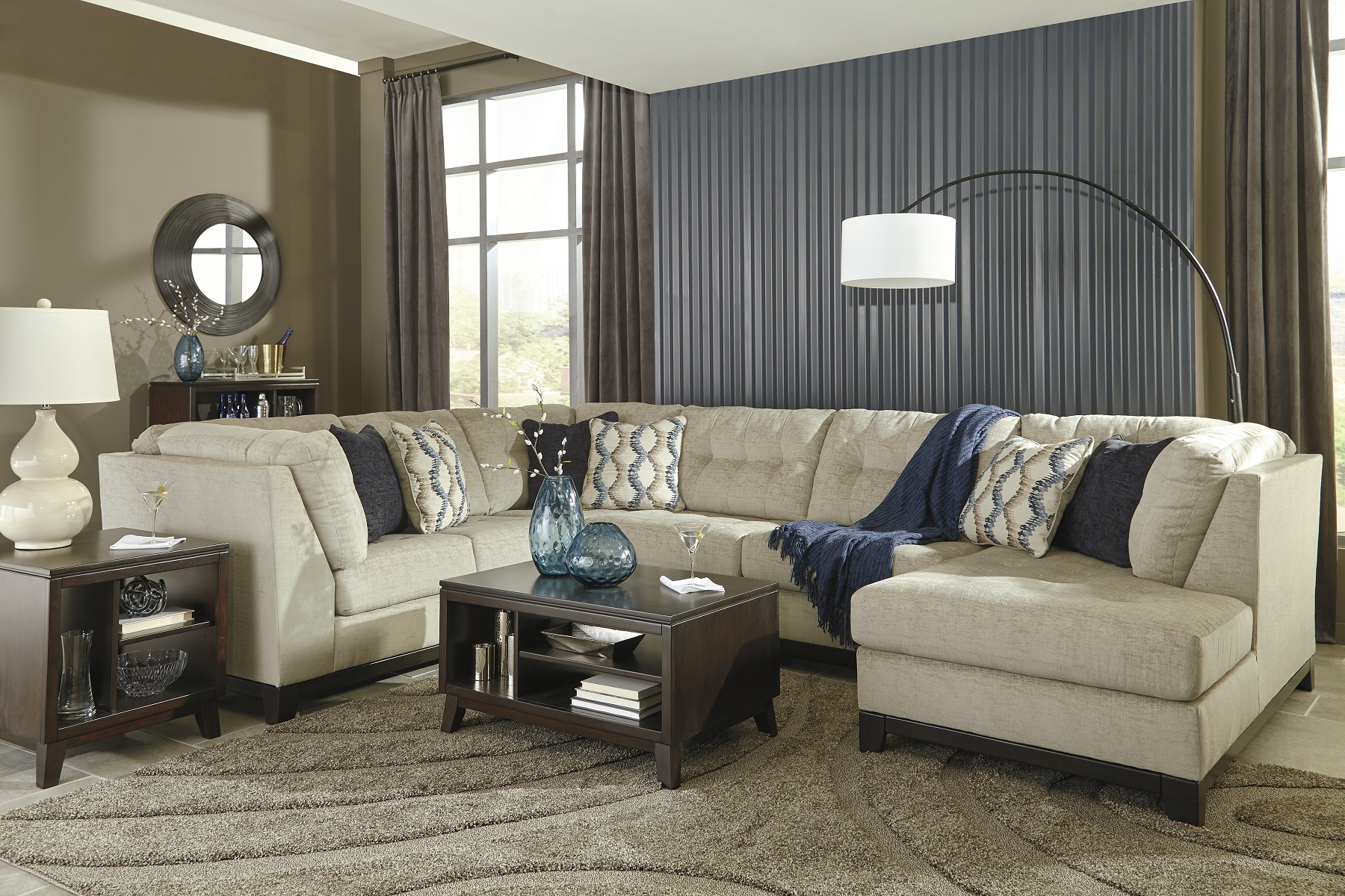 Beckendorf 15004 17 By Ashley Sectional Sofa Tufting Stone