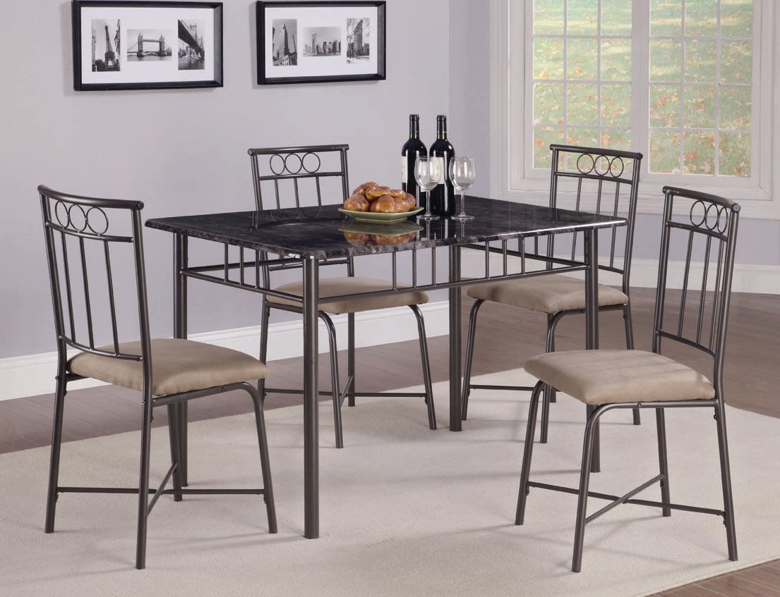 Marian Collection 150114 Faux Marble Dining Table Set ashley furniture coaster furniture living spaces & Marian Collection 150114 Faux Marble Dining Table Set ashley ...