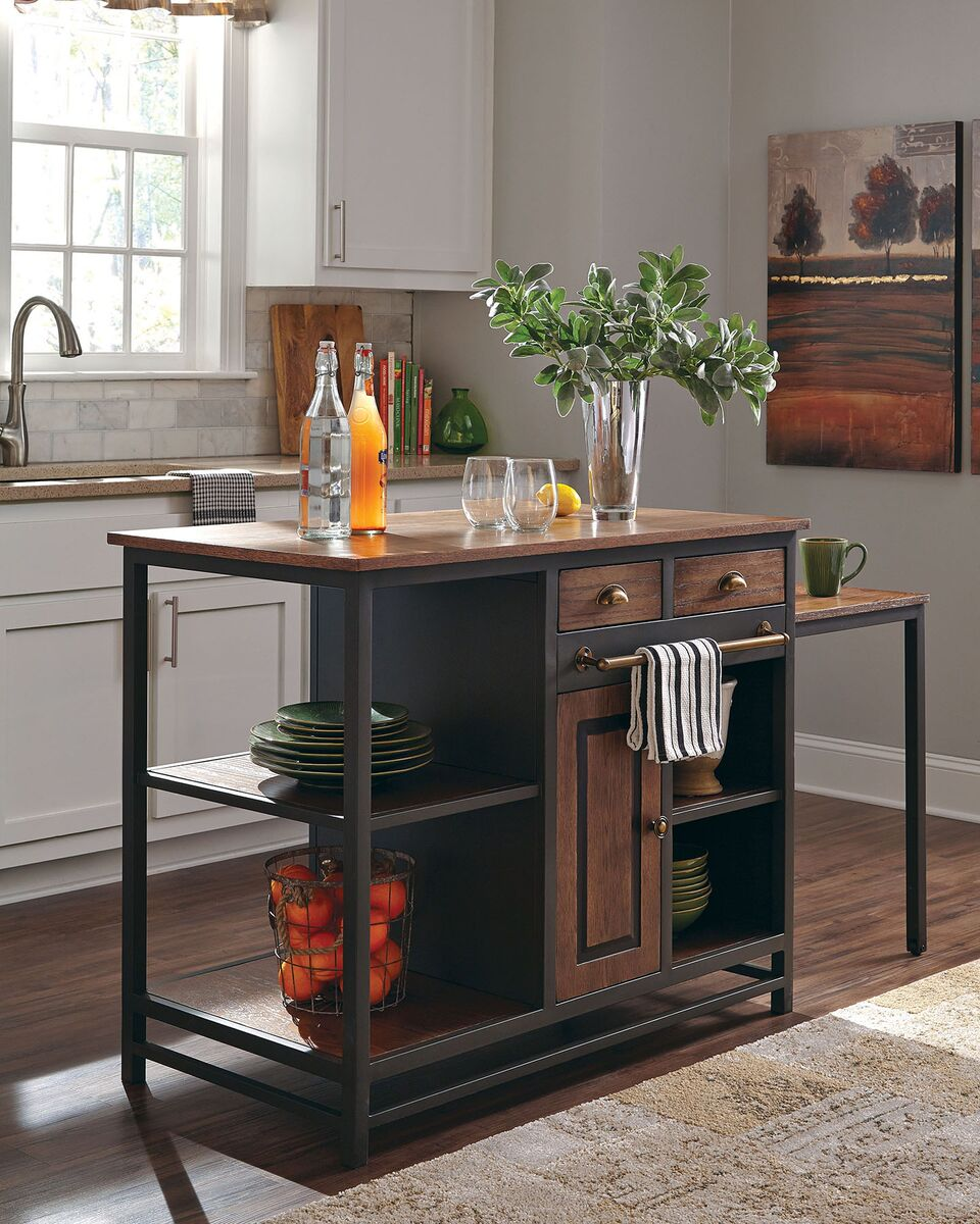Donny Osmond Home 180220 Rustic Industrial Kitchen Island
