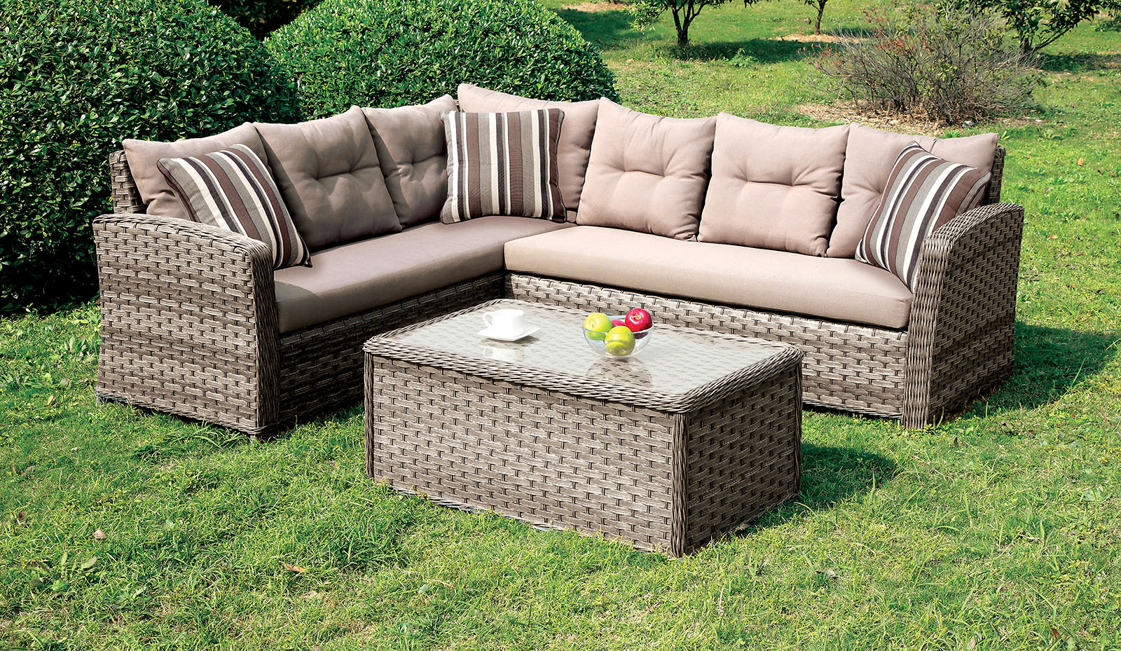 Moura 1816 brown outdoor patio sectional sofa - Outdoor sectionals for small spaces collection ...