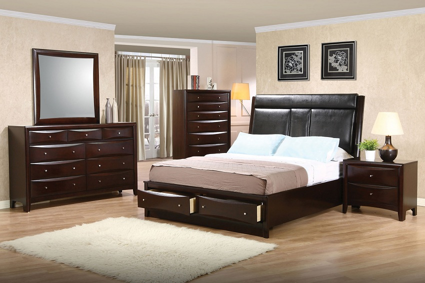 Phoenix Collection 200419 Cappuccino Bedroom Set Coaster Furniture