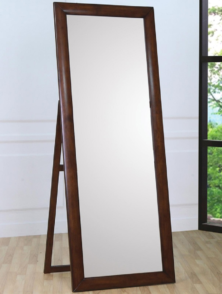 Walnut frame standing mirror 200647 collection for Standing mirror frame