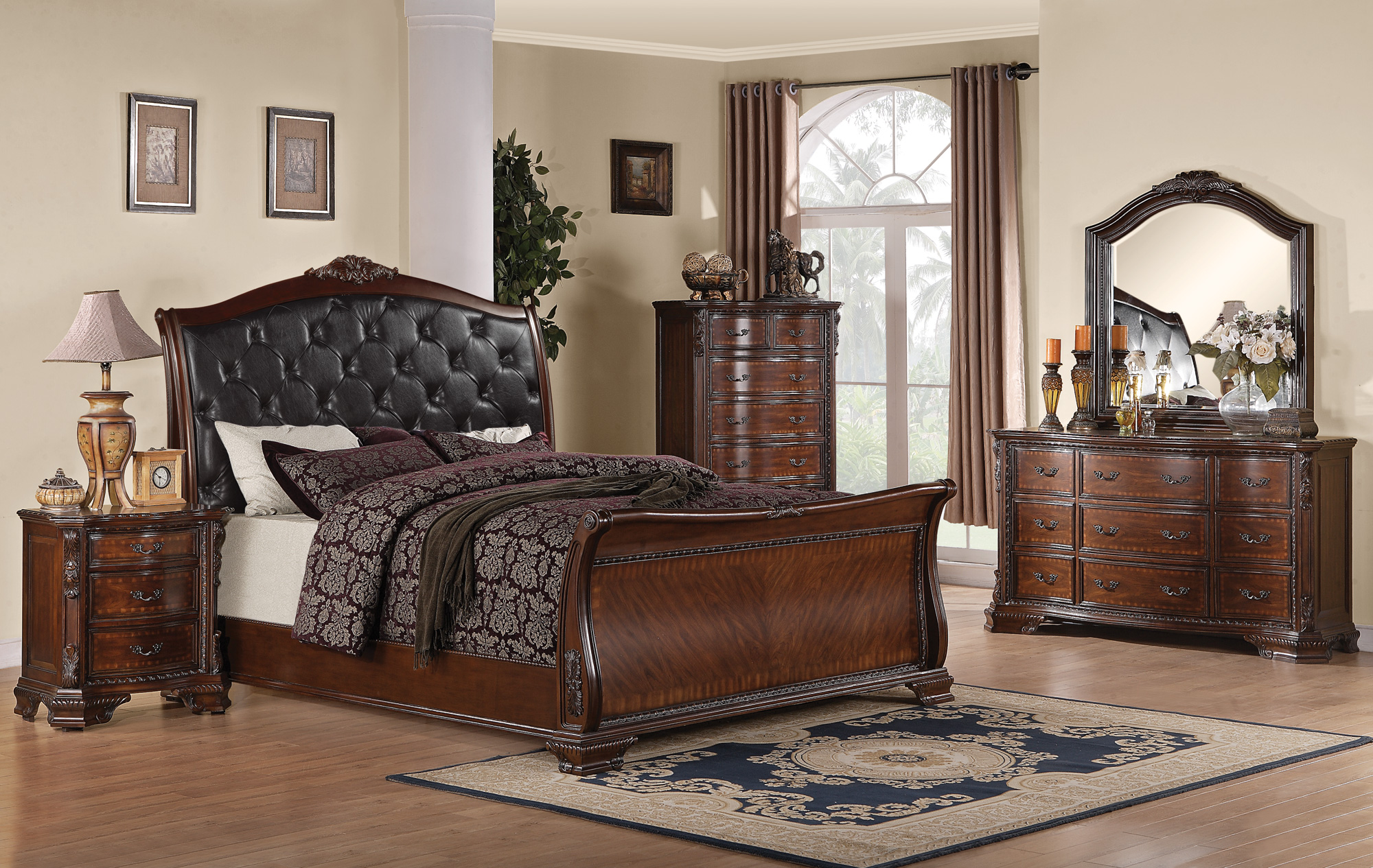 Collection 202261 Brown Cherry Bedroom Set