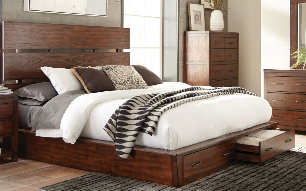 Artesia Collection King Platform Bed Storage Finished In