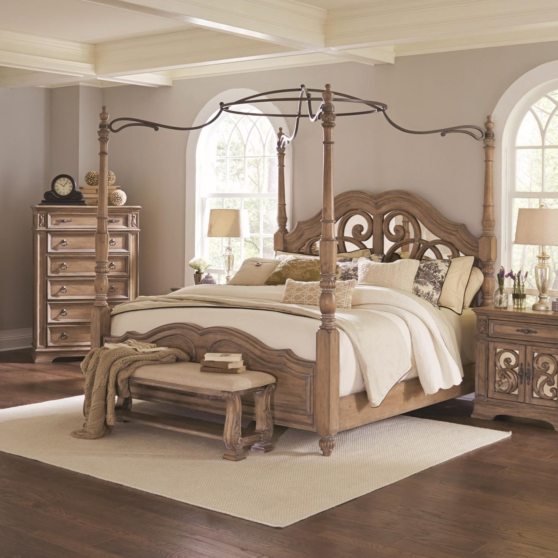- Ilana Collection 205071Q Queen Canopy Poster Bed In An Antique