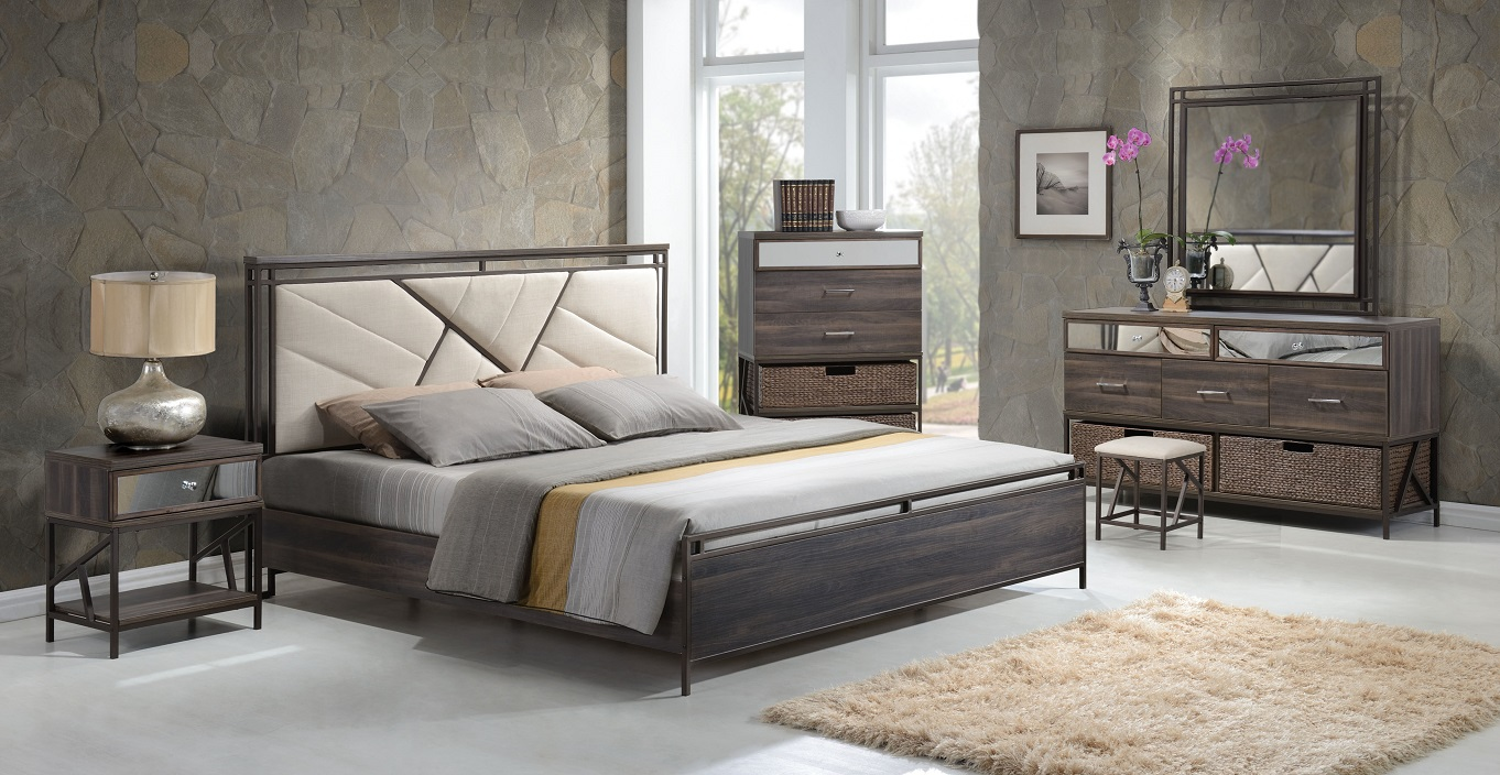 Adrianna 20950 Walnut Finish Cream Fabric Bedroom Set
