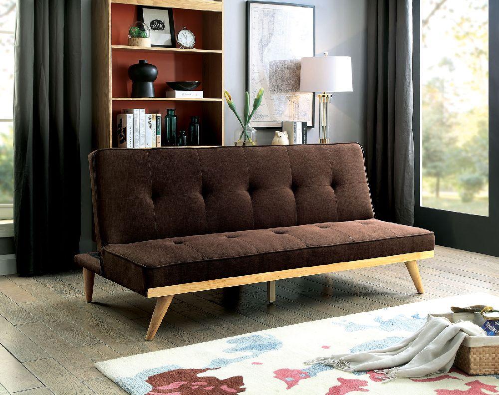 Furniture Of America 2441br Brown Mid Century Modern Futon Sofa Bed