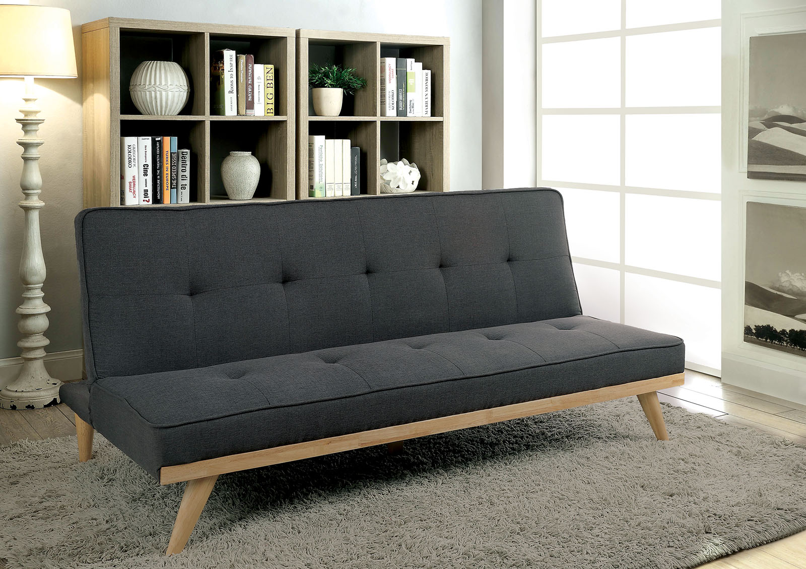 Furniture of America 2441GY Gray Mid Century Modern Futon Sofa Bed