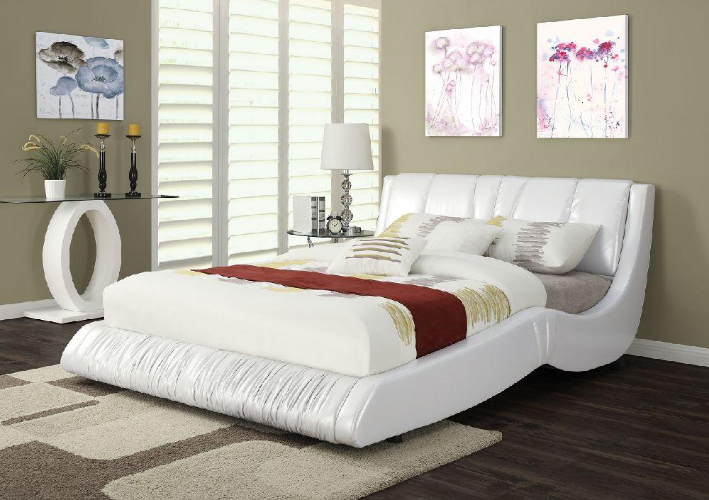 acme furniture 24650 white platform queen bed frame. Black Bedroom Furniture Sets. Home Design Ideas