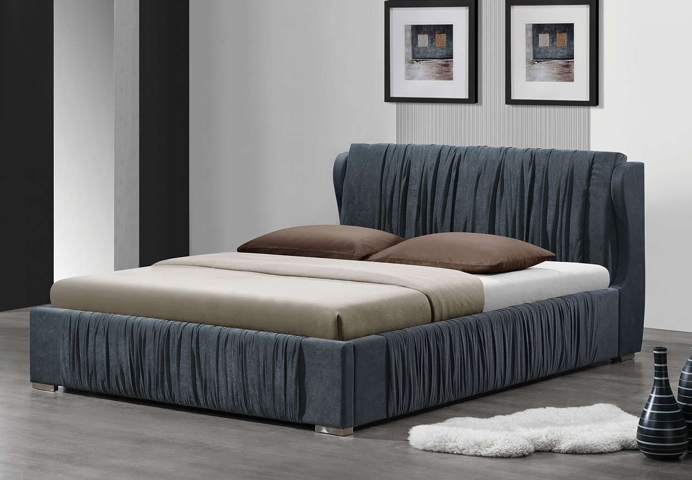hazlett 24737 gray platform king bed frame - Eastern King Bed Frame