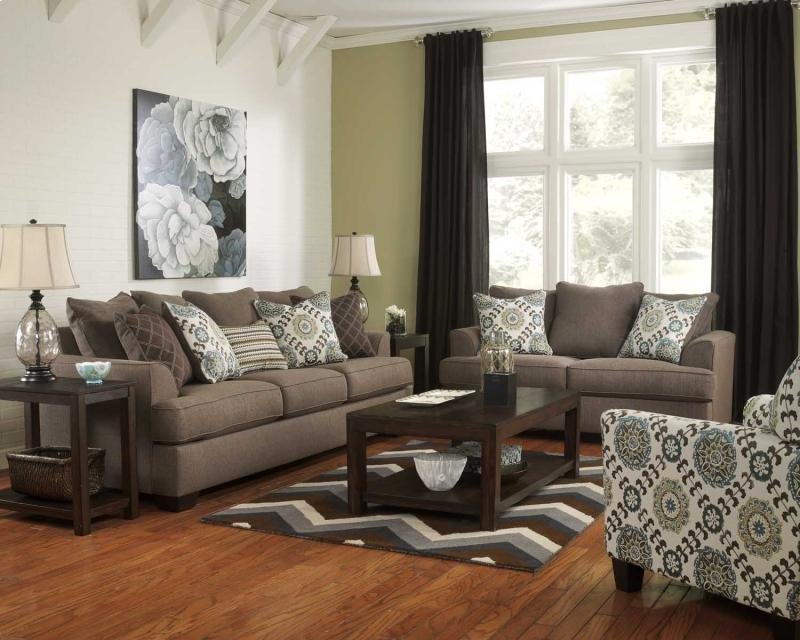 living room sets ashley corley collection slate fabric sofa amp loveseat set 15353