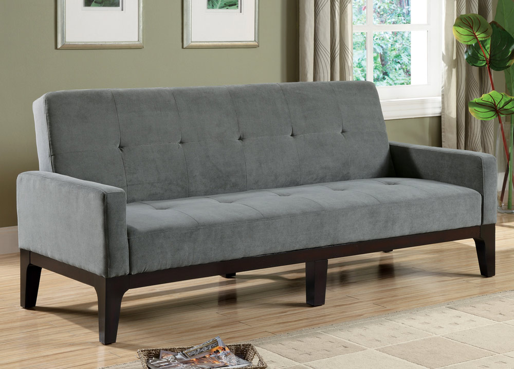 Delaney collection 300229 blue gray futon for Blue gray sofa