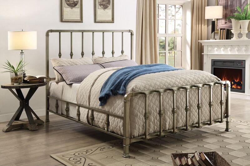 Micah California King Metal bed finished in handbrushed antique cham