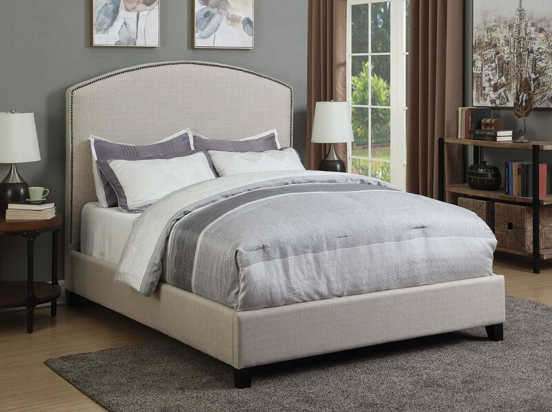 cantillo eastern king bed upholstered in oatmeal fabric. Black Bedroom Furniture Sets. Home Design Ideas