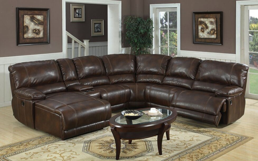 Tacoma e motion brown sectional with chaise and recliner for Furniture upholstery tacoma
