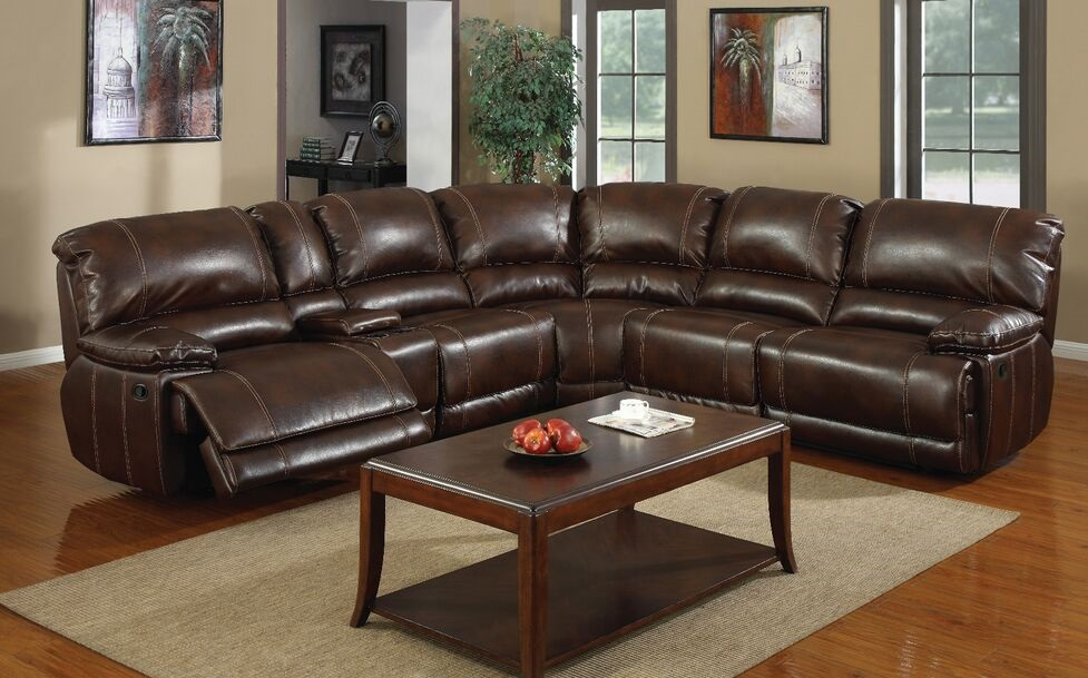 E Motion Brown 3 Recliner Sectional Sofa With Console Kian Usa