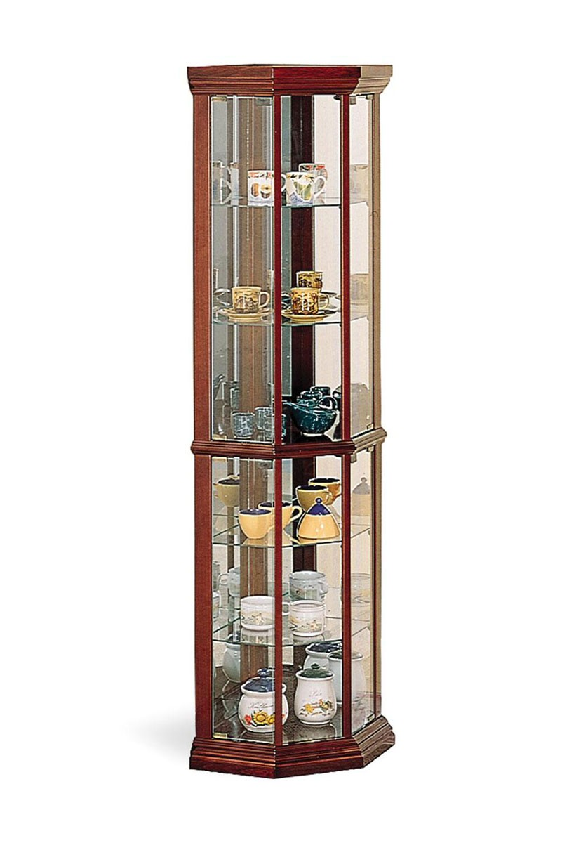 Coaster 3393 Brown 5 Shelve Mirrored Back Curio Cabinet