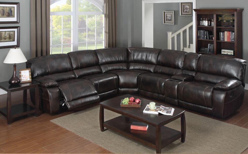 E Motion Dark Brown 3 Recliner Sectional Sofa 3503 With