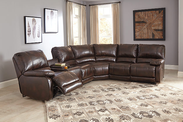 Terrific Hallettsville Saddle By Ashley 35300 Power Reclining Sectional Sofa Pdpeps Interior Chair Design Pdpepsorg