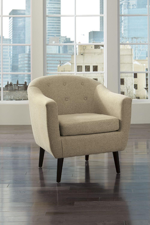 Klorey by Ashley Accent Chair by Ashley Cream Barrel Shape