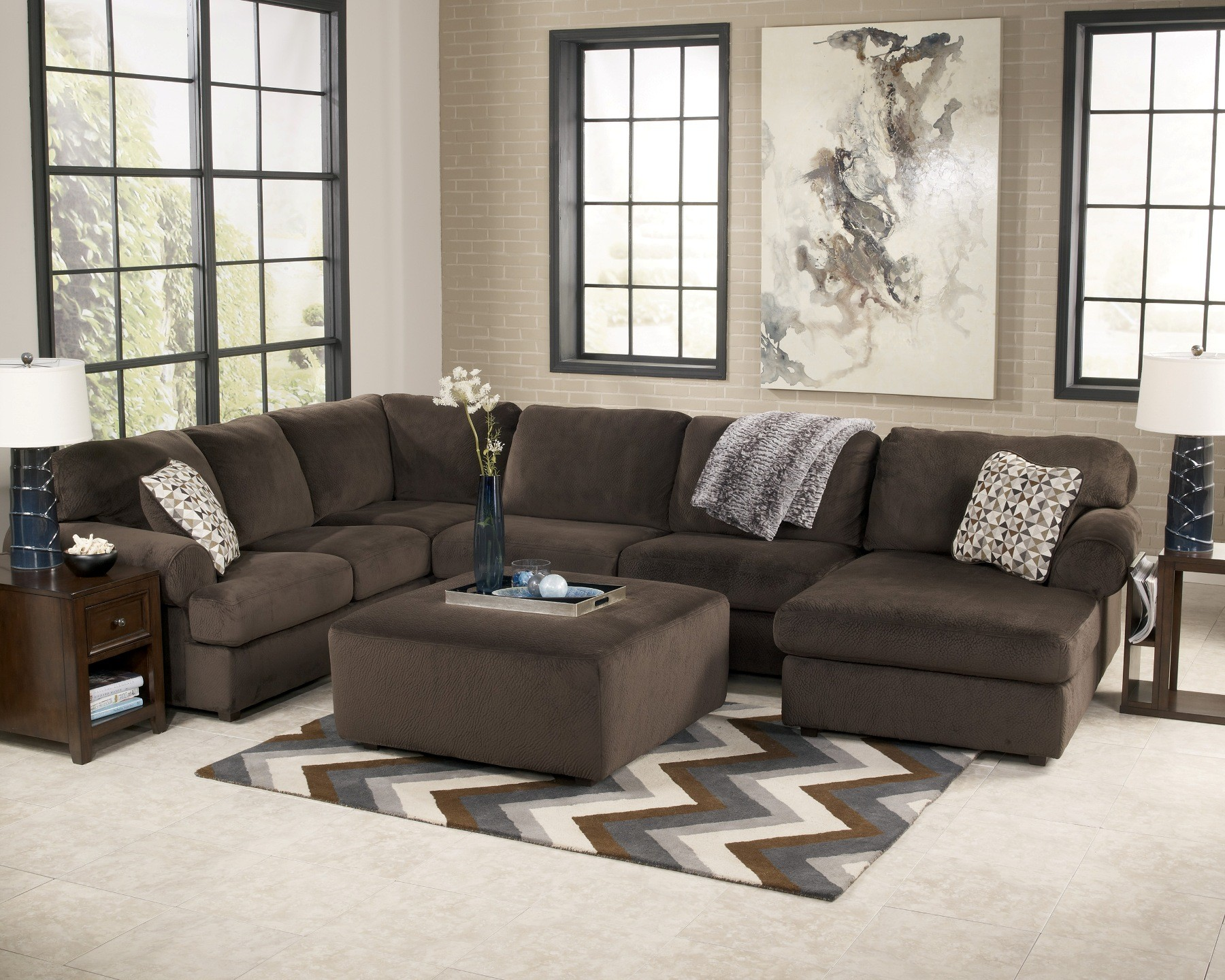 Microfiber leather 2 two tone small sectional sofa with chaise