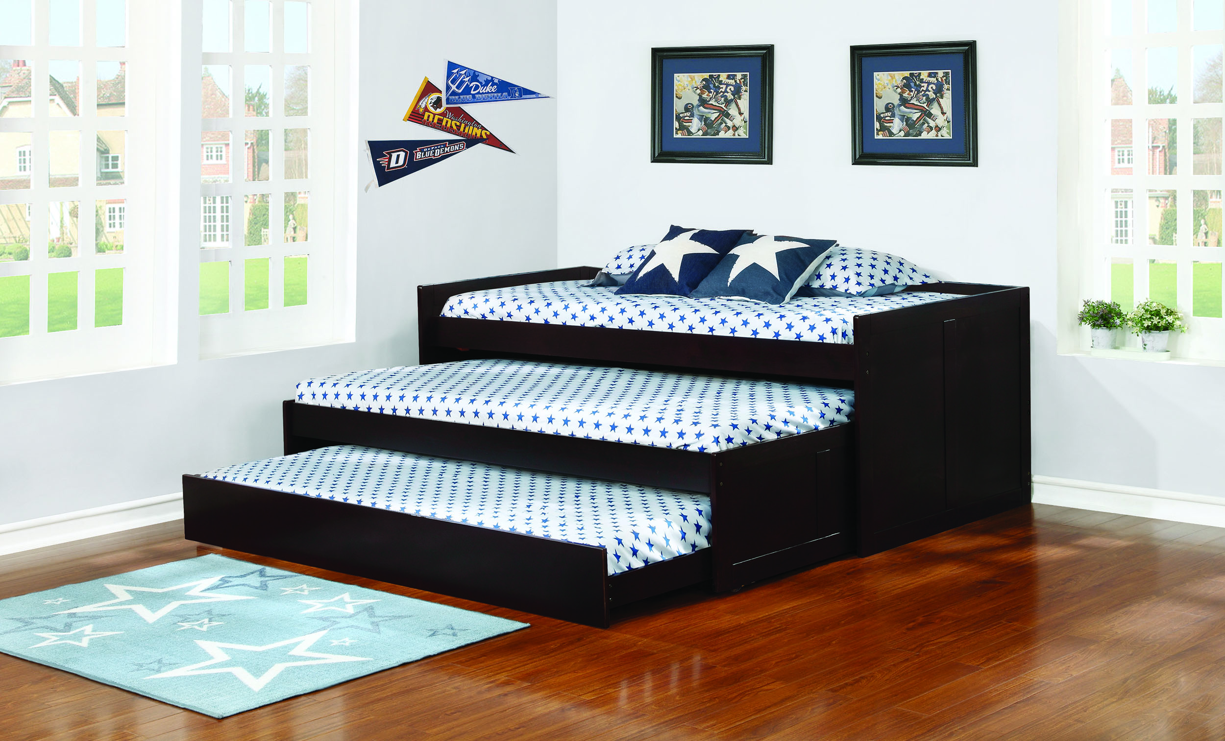 Coaster 405034 Wooden Cappuccino Triple Twin Daybed