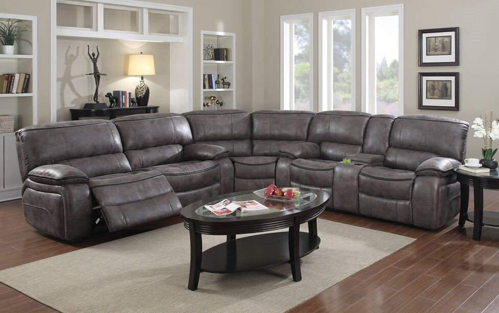 E Motion Grey Reclining Sectional With Console Kian Usa