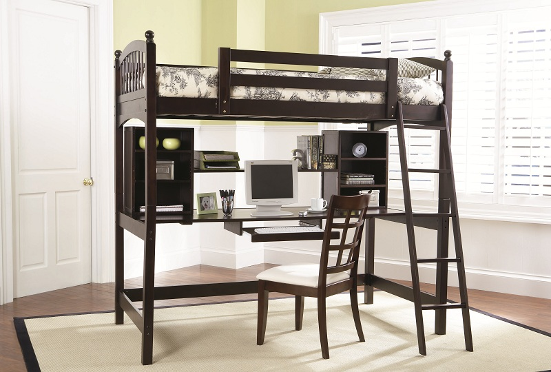 Furniture Outlet Workstation Desk Loft Bed Cappuccino