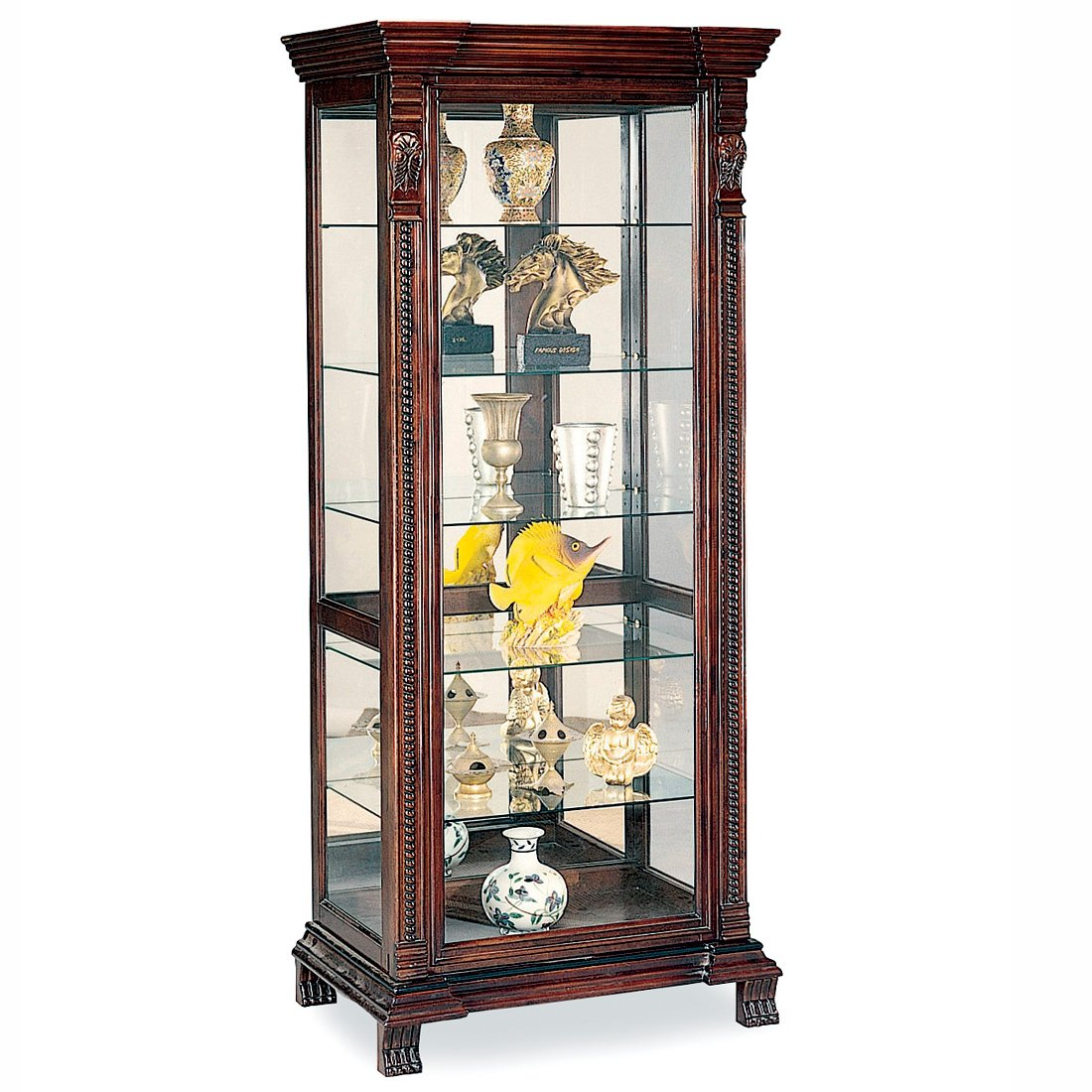 Coaster 4715 Curio Cabinet In Red Brown Finish And 5 Glass