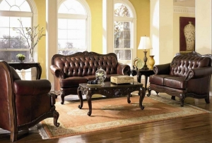 Venice Collection 500681 Wood Trimmed Sofa Loveseat Set