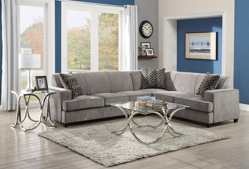 Modern Style Sectional With Padded Seat Cushions And With
