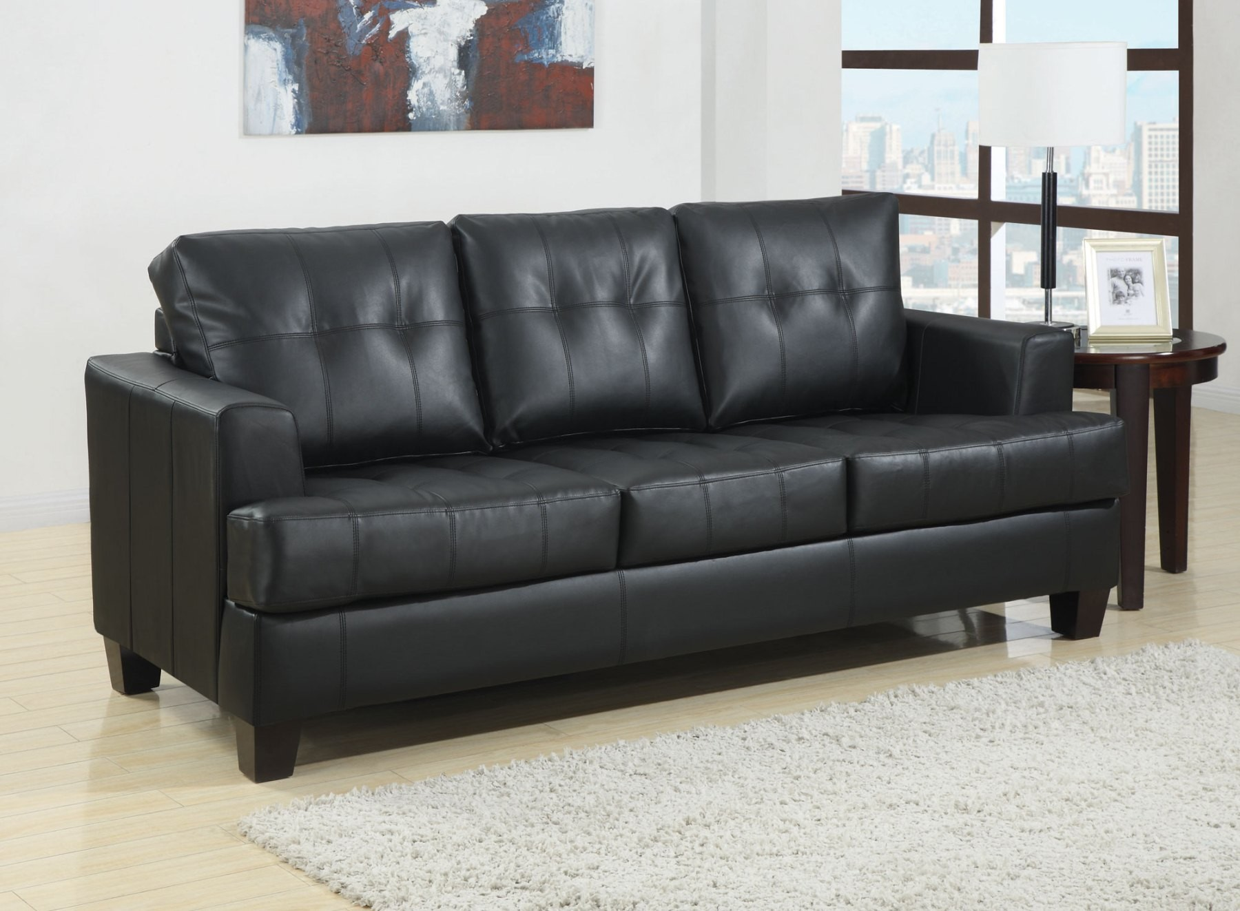 7 Pc Black Sofa Living Room Package With 50 HDTV