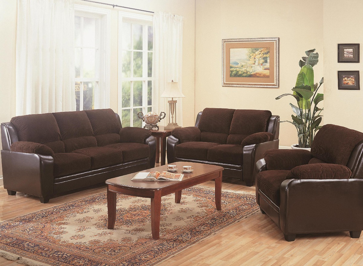 Furniture Outlet Chocolate Brown Two Tone Sofa Loveseat