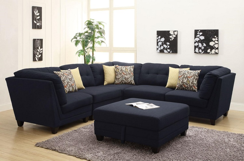Keaton Collection 503451 Modular Sectional Sofa Blue Linen