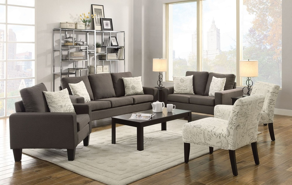 Grey linen sofa set cheap sofa set discounted sofa set for Matching living room furniture sets