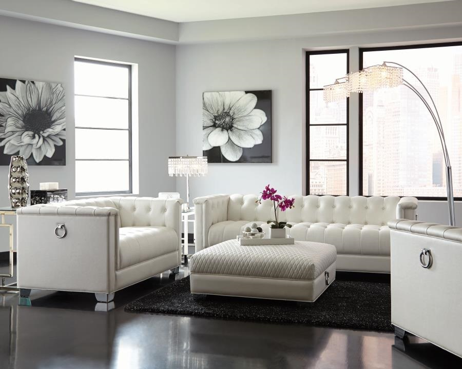 Chaviano Collection 505391 Sofa Set Pearl White