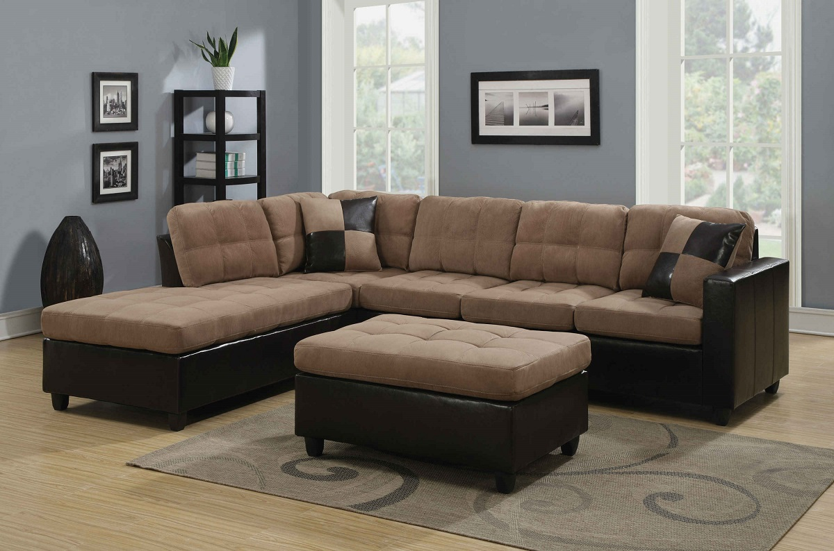 Coaster 505675 harlow mallory two tone tan sectional buy for Sectional sofa set up