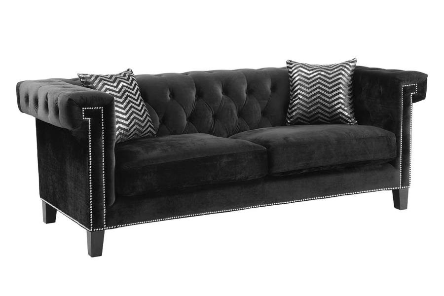 Reventlow Collection 505818 Black Velvet Sofa with  : 505817 from www.wyckes.com size 900 x 600 jpeg 75kB