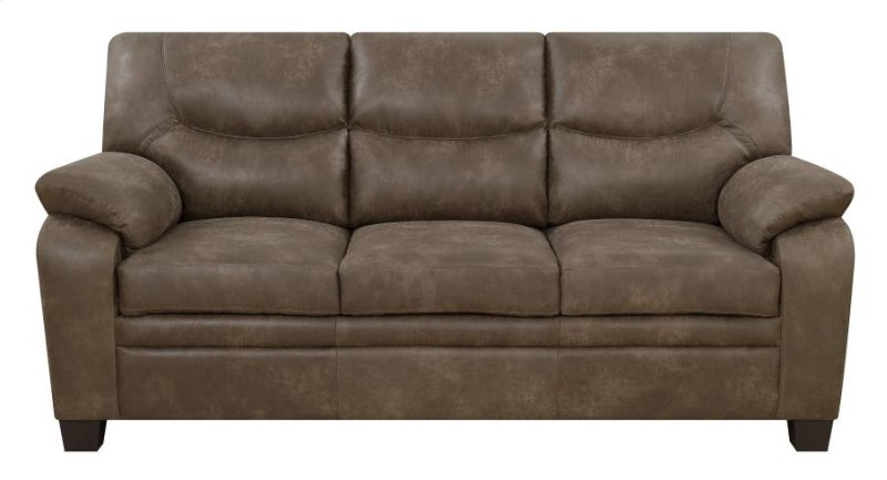 Coaster Brown Coated Microfiber Fabric Sofa