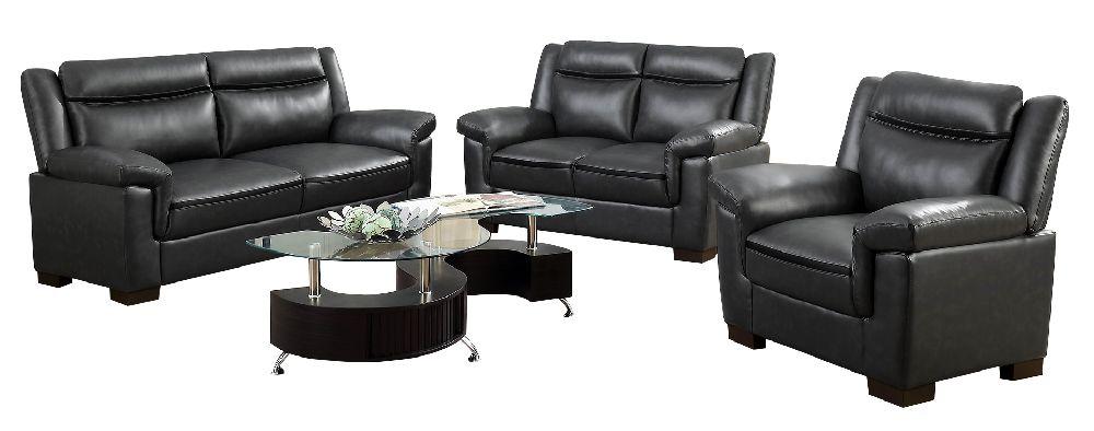 Coaster 506591 Arabella Grey Leatherette Plush Sofa Set