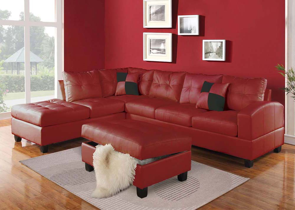 Acme Furniture Kiva 51185 Red Bonded Leather Reversible Sectional
