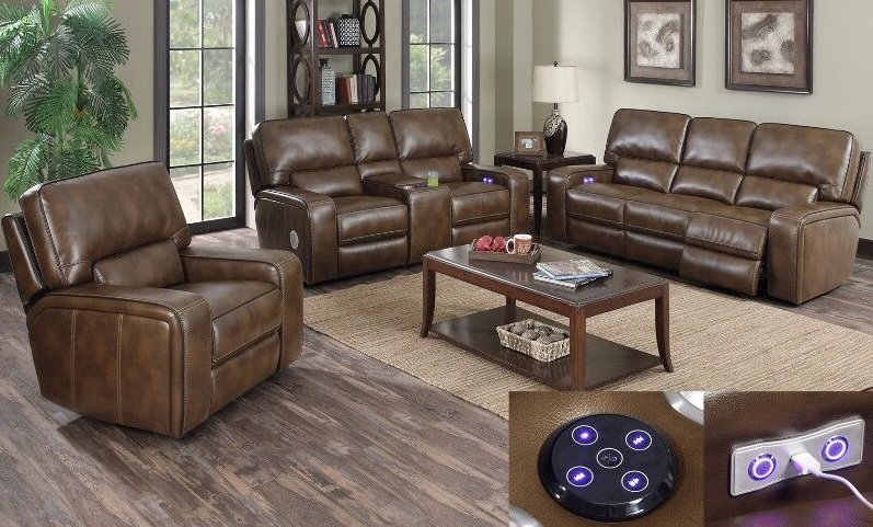 5350 Power Reclining Sofa Set In A Padded Polyurethane