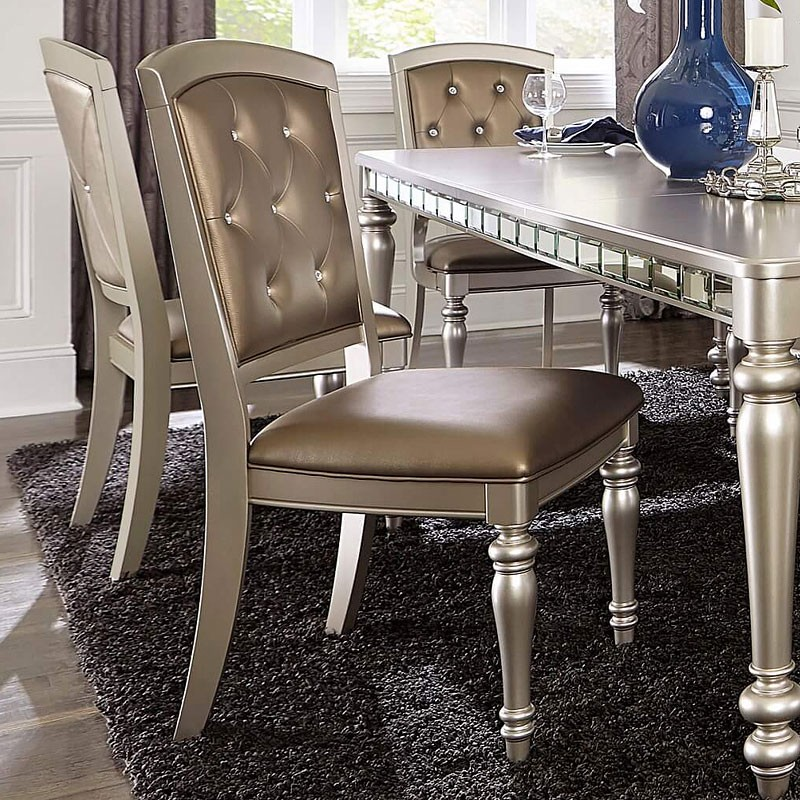 Orsina By Homelegance Silver Finish Dining Side Chair 5477ns
