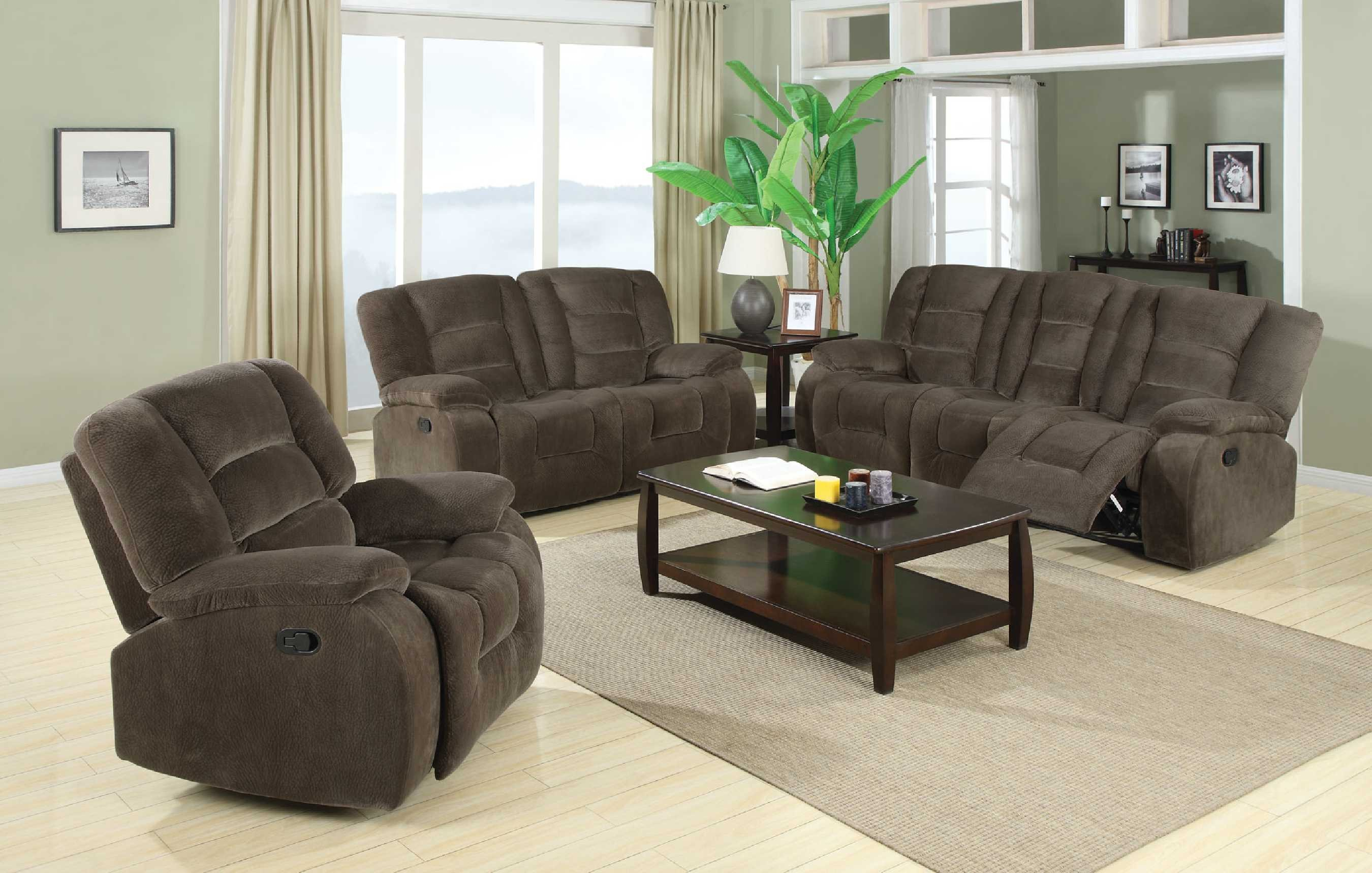 Collection Padded Velvet Reclining Sofa & Loveseat Set