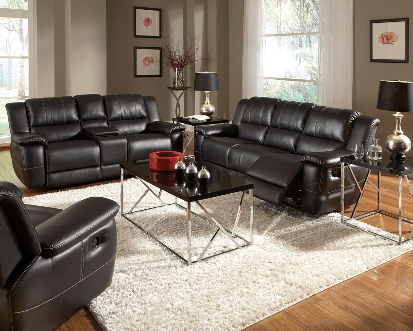 Bonded Leather Reclining Sofa Set Newport Beach Black