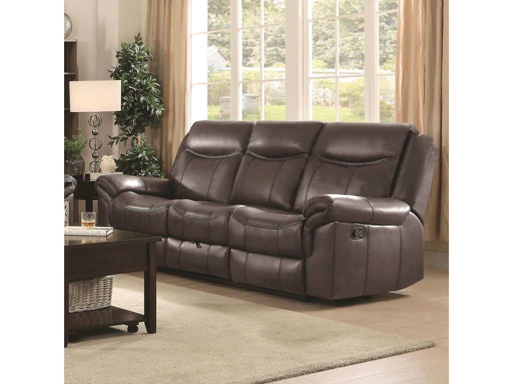 Wondrous Sawyer By Coaster 602331 Cocoa Padded Breathable Leatherette Reclining Sofa Andrewgaddart Wooden Chair Designs For Living Room Andrewgaddartcom